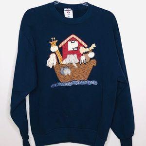Vintage Appliqué Noah's Ark Crewneck Sweatshirt L